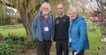 Richard Harris and Chris Cole with Mr Barlow at their father's memorial garden.